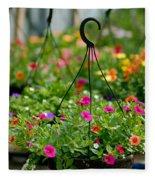 Hanging Flower Baskets Shallow Dof Fleece Blanket