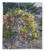 Hanging Flowers From Balcony Fleece Blanket