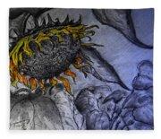 Hanging On To Life - Sunflower Fleece Blanket