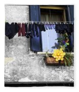 Hanging Out To Dry In Venice 2 Fleece Blanket