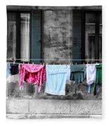 Hanging The Wash In Venice Italy Fleece Blanket