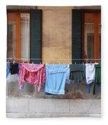 Hanging The Wash In Venice Fleece Blanket