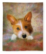 Hankie A Corgi And Westi Mix Cute Dog Fleece Blanket