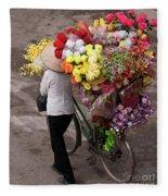 Hanoi Flowers 01 Fleece Blanket