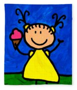 Happi Arte 3 - Little Girl Ice Cream Cone Art Fleece Blanket
