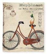 Happiness Is My Bicycle Fleece Blanket