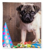 Happy Birthday Cute Pug Puppy Fleece Blanket