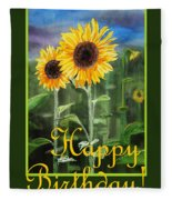 Happy Birthday Happy Sunflowers Couple Fleece Blanket