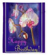 Happy Birthday Orchid Fleece Blanket