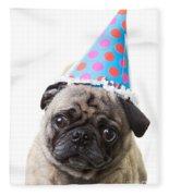 Happy Birthday Pug Card Fleece Blanket