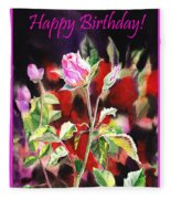 Happy Birthday Rose Fleece Blanket