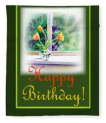 Happy Birthday Tulip Bunch Fleece Blanket