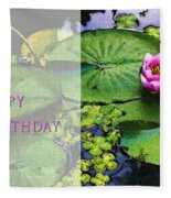 Happy Birthday Water Lily Fleece Blanket