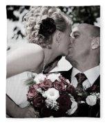 Happy Bride And Groom Kissing Fleece Blanket