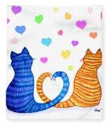 Happy Cats And Hearts Fleece Blanket