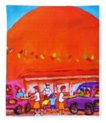 Happy Days At The Big  Orange Fleece Blanket