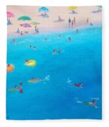 Happy Days At The Seaside Fleece Blanket