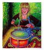 Happy Drummer Fleece Blanket
