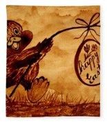 Happy Easter Coffee Art Fleece Blanket