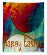 Happy Easter Greeting Card Fleece Blanket