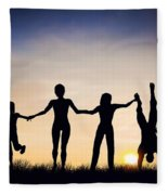 Happy Group Of People Friends Family Together Fleece Blanket