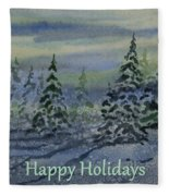 Happy Holidays - Snowy Winter Evening Fleece Blanket