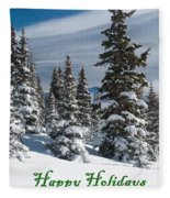 Happy Holidays - Winter Trees And Rising Clouds Fleece Blanket