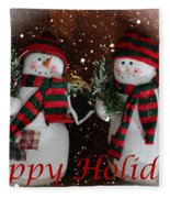 Happy Holidays - Christmas - Snowman Collection - Greeting Cards Fleece Blanket