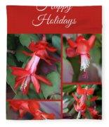 Happy Holidays Natural Christmas Card Or Canvas Fleece Blanket
