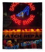 Happy Holidays - Neon Of New York - Shoe Repair - Holiday And Christmas Card Fleece Blanket