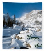 Happy Holidays Snowy Mountain Scene Fleece Blanket
