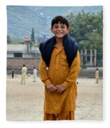 Happy Laughing Pathan Boy In Swat Valley Pakistan Fleece Blanket