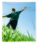Happy Man On The Summer Field Fleece Blanket