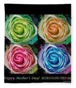 Happy Mothers Day Hugs Kisses And Colorful Rose Spirals Fleece Blanket