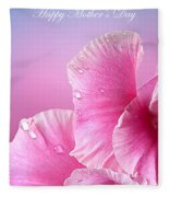 Happy Mother's Day Macro Pink Rose Petals Fleece Blanket