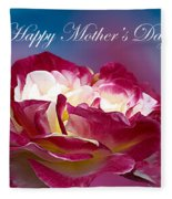 Happy Mother's Day Red Pink White Rose Fleece Blanket