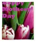 Happy Mothers' Day Tulip Bunch Fleece Blanket