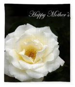 happy Mother's Day White Rose Fleece Blanket