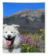 Happy Mountain Dog Fleece Blanket