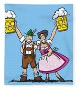 Happy Oktoberfest Couple Beer Fleece Blanket
