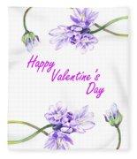 Happy Purple Valentine Fleece Blanket