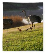 Happy Sandhill Crane Family - Original Fleece Blanket