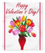 Happy Valentines Tulip Bouquet Fleece Blanket