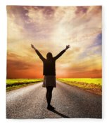 Happy Woman Standing On Long Road At Sunset Fleece Blanket