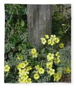 Happy Yellow Flowers Fleece Blanket