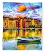 Harbor At Sunset Fleece Blanket