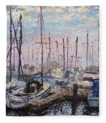 Harbor In Early Morning Fleece Blanket