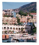 Harbor, Kalkan, Turkey Fleece Blanket