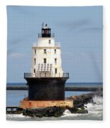 Harbor Of Refuge Light  And Breakwater Fleece Blanket