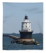 Harbor Of Refuge Lighthouse Fleece Blanket